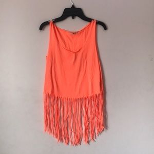 Orange fringe shirt